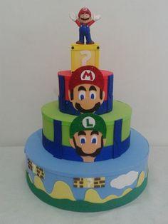 bolo super mario fake #bolomario #bolosupermario #festamario #mariobros Yoshi, Bolo Super Mario, Mario E Luigi, Fondant, Birthday Cake, Desserts, Bolo Fake, Food, Baby
