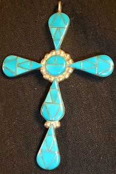 ZUNI INLAY STERLING SILVER TURQUOISE CROSS PENDANT DEAD PAWN NATIVE AMERICAN