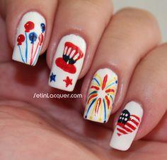 4th of july nail design nail art firework nail art design red fun 4th of july or memorial day nail art prinsesfo Gallery