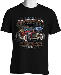 Vintage Hot Rod Retro Ford 1923 T Bucket Roadster Mens Size S to 3XL Big & Tal #PitStopShirtShop #GraphicTee