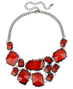 Haskell Necklace, Hematite-Tone Red Faceted Frontal Necklace - Fashion Necklaces - Jewelry & Watches - Macy's