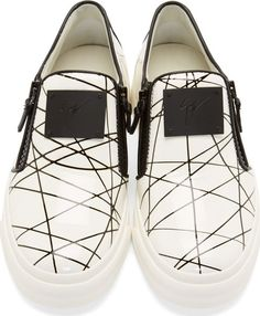 Giuseppe Zanotti White Abstract Print Slip-On Shoes