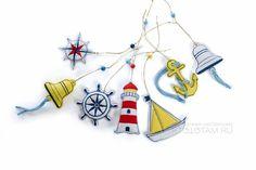 набор фетровых игрушек на морскую тему, морские предметы елочные игрушки