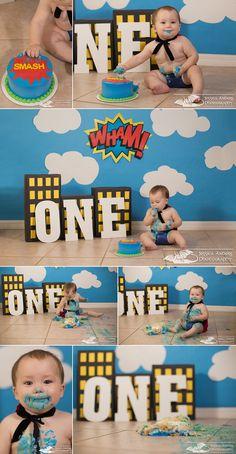 One Year Superhero Cake Smash - Ft. Myers Child Photographer - Jessica Anders Photography