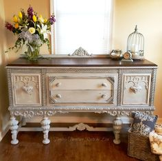 Restored Jacobean Buffet  ChalkPaint Distressed Glazed Stenciled