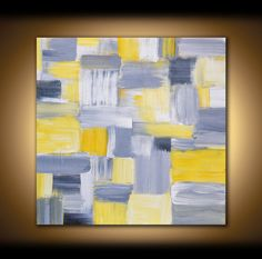 LARGE CANVAS ART Abstract Painting Large Wall Art Panel Modern Art Mosaic Wall Decor Original Art Wall Picture Yellow Grey White Silver Gray on Etsy, $450.00