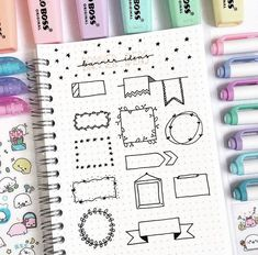 Nicole Grace (nicolegracestudies) on You guys really liked my text dividers post so today I decided to show you some banner ideas what Bullet Journal Inspo, Bullet Journal Dividers, Bullet Journal Headers, Bullet Journal Banner, Bullet Journal 2019, Bullet Journal Notebook, Bullet Journal Aesthetic, Bullet Journal Layout, Kalender Design