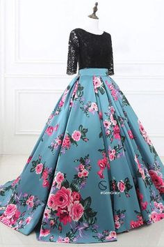073b41b082 Prom Dresses Two Piece Black Lace and Floral Prom Dress Half Sleeves M1342