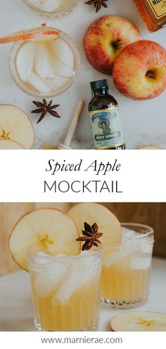 Serving sparkling cider at your fall parties? Add spicy ginger syrup, lemon juice and honey to impress your guests with this easy spiced apple mocktail recipe. Best Mocktail Recipe, Easy Mocktail Recipes, Drink Recipes Nonalcoholic, Non Alcoholic Cocktails, Cocktail Recipes, Smoothie Recipes, Apple Cider Drink, Apple Ingredients, Ginger Syrup
