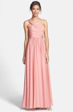 Bridesmaids Twist Shoulder Satin Chiffon Gown