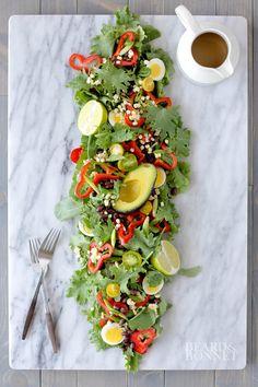 Southwest Baby Kale Salad with Cumin-Ginger-Sage Dressing {Beard and Bonnet}