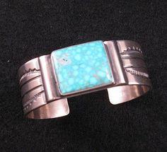 Old Style Navajo Kingman Turquoise Silver Bracelet - Orville Tsinnie