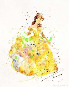 Belle, Beauty and the Beast Disney Watercolor Wall Art Poster - Prices from $9.95 - Click Photo for Details - #disney #watercolor #baby #christmasgifts #homedecor #BeautyandtheBeast