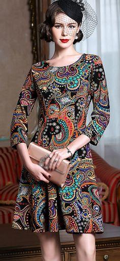 Ethnic Print Gathered Waist Skater Dress