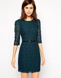 teal lace shift dress