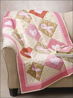 Breast cancer awareness quilt - Ribbons of Hope Quilt - from Annie's