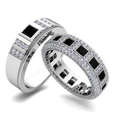 Matching Wedding Rings: Princess Cut Diamond Eternity Bands in 14k White or Yellow Gold. His and hers wedding ring set features princess cut diamonds set in 14k white gold eternity band surrounded by diamonds. Perfect couple rings as anniversary ring or wedding band for men and women.