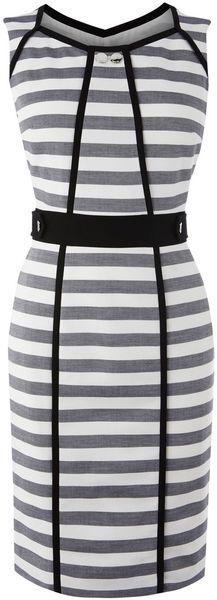 KAREN MILLEN Gray Graphic Stripe Separates Dress Karen millen stripe stretch cotton pencil dress with black trim and karen millen branded metal work.. Shift dress. Stripes. Above the knee.