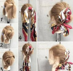 How to Make Adorable Hairstyles with Scarf Scarf Hairstyles, Down Hairstyles, Let Your Hair Down, Vintage Hairstyles, Wedding Hairstyles, About Hair, Hair Looks, New Hair, Short Hair Styles
