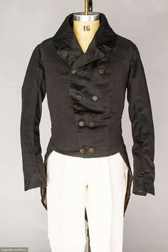 1827-1832 ca.   Man's Tailcoat.   Blue wool, double-breasted, tail coat.   augusta-auction.com         suzilove.com