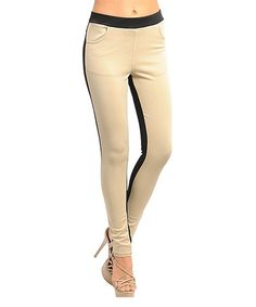 Take a look at this Beige & Black Color Block Leggings by Ami Sanzuri on #zulily today!