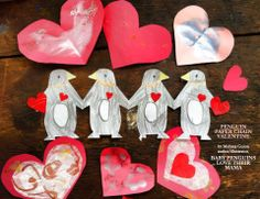 Penguin paper-chain Valentine by Melissa Guion, author/illustrator of BABY PENGUINS LOVE THEIR MAMA! Penguin Love, Paper Chains, Baby Penguins, Valentine Day Crafts, Just Go, Fathers Day, Snowflakes, Illustrator, Author