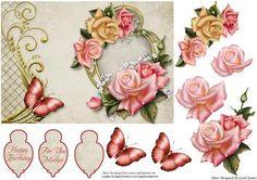 Topper Edwardian Roses On Frame on Craftsuprint