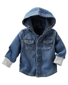 Add a rough and tough style to your little dude's wardrobe with the Hooded Denim Shirt from OshKosh Baby B'gosh. The knit-like denim design features an authentic button-front design with functional flap pockets and ribbed cuffs. Toddler Boy Fashion, Toddler Outfits, Boy Outfits, Kids Fashion, Children Outfits, Bitty Baby Clothes, Trendy Baby Clothes, Babies Clothes, Babies Stuff