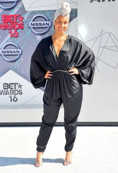 Alicia Keys rocked a silky ebony pantsuit with elegant draping at the 2016 BET Awards! See what other stars wore!