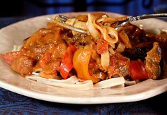 Eggplant paprikash. sounds great on it's own or over quinoa, rice, brown rice noodles :) i would sub out the tofu sour cream for some cashew cream sauce :)