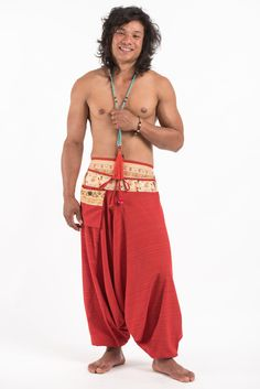 Pinstripe Cotton Low Cut Men's Harem Pants with Elephant Trim in Red Elephant Pants, Harem Pants, Red, How To Wear, Cotton, Barefoot, Collection, Bohemian, Pocket