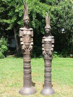 Two Totem Sculptures by Judi Smith Concrete Sculpture, Outdoor Sculpture, Tree Sculpture, Ceramic Sculptures, Garden Sculpture, Garden Totems, Garden Art, Garden Ideas, Ceramic Figures