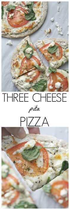 Three Cheese Pita Pizza   EatStyleCreate.com
