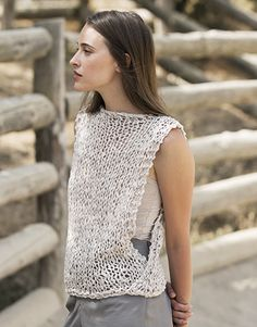 Make the Rebel Cami, a sassy but sweet drawstring halter top crochet pattern from TL Yarn Crafts. Challenge your crochet stills with unique shaping and texture Crochet Blouse, Knit Crochet, Summer Knitting, Summer Patterns, Knit Vest, Crochet Woman, Crochet Clothes, Pulls, Sports Women