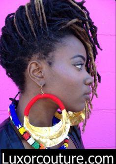women wearing fulani gold earrings | Fulani Earrings $40.00 (Extra Large, Jumbo) luxorcouture.com