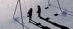 Swingset at night. Animated gif.