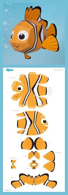 Nemo Papercraft - - Diy How to Crafts 3d Paper Crafts, Paper Toys, Diy Paper, Fun Crafts, Paper Cards, Diy For Kids, Crafts For Kids, 3d Templates, Paper Animals