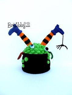 Funny Witch Cauldron Halloween Crochet Hat