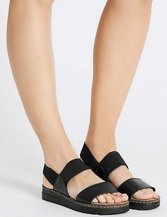 Leather Elastic Two Band Sandals | Marks & Spencer London
