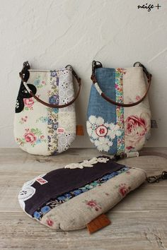 Different style bags using Vintage linens