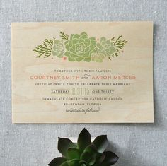 Boho Succulent Wood Wedding Invitations by Cheer Up Press | http://emmalinebride.com/themes/wood-themed-wedding-ideas/