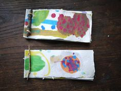 Twig Journals - This is a staple for every camper that comes my way.  This easy way to bind the homemade books with a twig and rubberband makes the journals remarkably strong and they look great to boot.