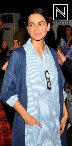 #KanganaRanaut wore a striped dress with a navy #pullover