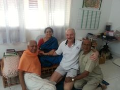Me with Guru Mata Amma at her Ashram in Bangalore - India. Her two main devotees are on the far left and far right.