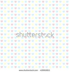 Seamless pastel watercolor painted hearts pattern. Holidays background. Vector illustration.