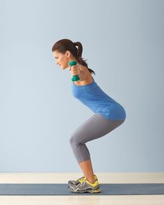 """9-Back - T-V Squat:  Stand with feet shoulder-width apart and hold a dumbbell in each hand at your sides, palms facing thighs. Lower into a squat as you lift arms out to the sides in a """"T"""" position, palms facing forward, and bring shoulder blades together. Straighten legs and lower arms to return to starting position, then lower into the squat again and raise arms overhead in a """"V,"""" palms facing each other so they're slightly wider than shoulders (don't hunch). Repeat 6-10 Reps."""