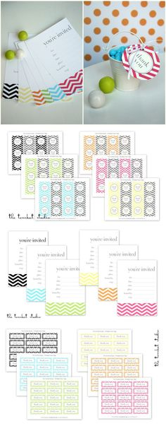 chevron invitations and tags -- free printables from tomkat studio http://www.thetomkatstudio.com/hgtv-free-printable-chevron-invitations-favor-tags-in-6-colors/