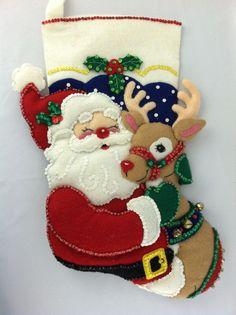 Bucilla Completed* Handmade* Santa & Rudolph Felt Applique Stocking #Bucilla Christmas Stocking Kits, Christmas Moose, Felt Stocking, Merry Little Christmas, Felt Christmas, Christmas Projects, Christmas Ornaments, Xmas Stockings, Felt Applique