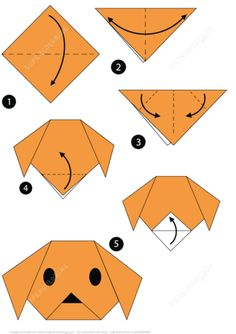 Origami Step by Step Instructions of a Dog Face from Origami (Paper Folding) category. Hundreds of free printable papercraft templates of origami, cut out paper dolls, stickers, collages, notes, handmade gift boxes with do-it-yourself instructions.