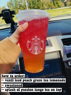 Easy Smoothie Recipes, Easy Smoothies, Drink Recipes, Secret Starbucks Recipes, Healthy Starbucks Drinks, Fruity Drinks, Yummy Drinks, Peach Green Tea Lemonade, How To Order Starbucks